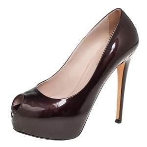Le Silla Brown Patent Leather Peep Toe Platform Pumps Size 36