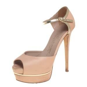 Le Silla Beige Leather Platform Peep Toe Ankle Strap Sandals Size 36