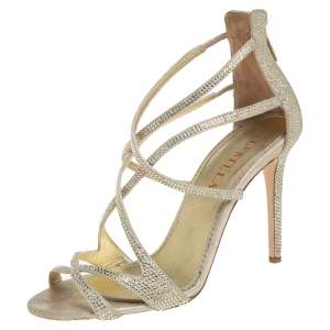 Le Silla Metallic Gold Crystal Embellished Suede Open Toe Strappy Sandals Size 38