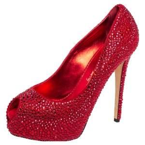 Le Silla Metallic Red Suede Crystal Embellished  Peep Toe Platform Pumps Size 38
