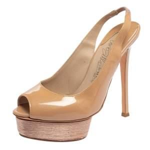 Le Silla Nude Patent Leather Peep Toe Slingback Platform Sandals Size 37.5