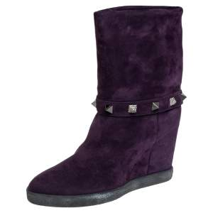 Le Silla Purple Suede Embellished Mid Calf Boots Size 40