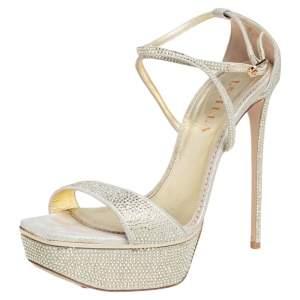 Le Silla Gold Crystal Embellished Suede Platform Ankle Strap Sandals Size 39