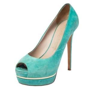 حذاء كعب عالي لي سيلا سويدي أخضر نعل سميك مقدمة مفتوحة مقاس 40
