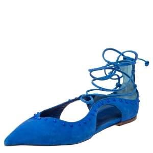 Le Silla Blue Suede Ankle Wrap Ballet Flats Size 37.5