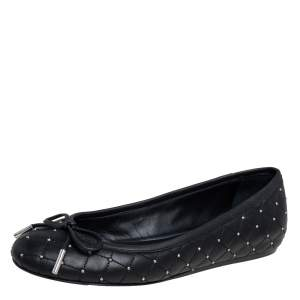 Le Silla Black Quilted Leather Studded Ballet Flats Size 36