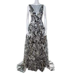 Lela Rose Monochrome Lurex Ikat Patterned Jacquard Sheer Yoke Sleeveless Gown XS