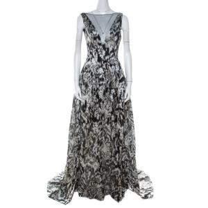 فستان سهرة ليلا روز إيكات لوريكس جاكار جزء علوي شفاف بلا أكمام XS