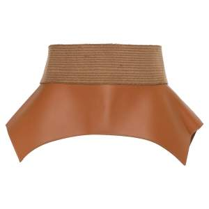 Loewe Tan/Beige Leather and Calfhair Obi Corset Belt M