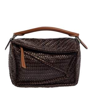 Loewe Brown Leather Woven Puzzle Shoulder Bag