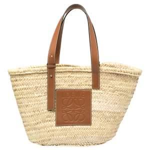 Loewe Beige Woven Raffia and Leather Basket Bag
