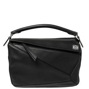 Loewe Black Leather Medium Puzzle Top Handle Bag