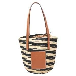 LOEWE Shigra Pattern Woven Straw Basket Bag