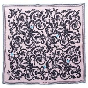 Loewe Pink & Black Floral Print Silk Scarf