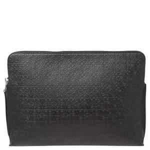 Loewe Black Logo Embossed Leather Laptop Case