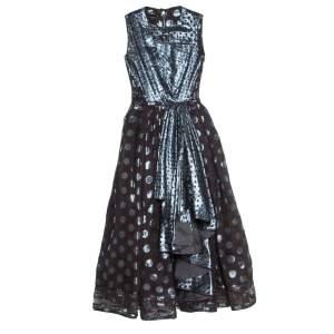 Loewe Brown and Metallic Blue Polka Dot Pattern Silk Pleat Detail Dress M
