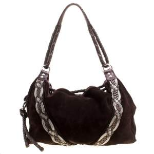 Loewe Dark Brown Suede Braided embellished Hobo