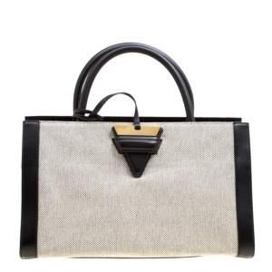 Loewe Black/Monochrome Canvas and Leather Barcelona Top Handle Bag