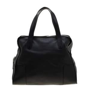 Loewe Black Leather Zipper Tote
