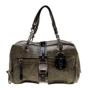 Loewe Python and Leather Big Bear Padlock Satchel
