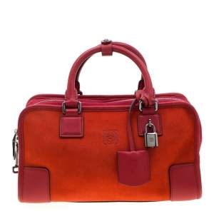 Loewe Orange/Red Suede and Leather Amazona Satchel