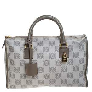 Loewe Grey Signature Coated Canvas Satchel