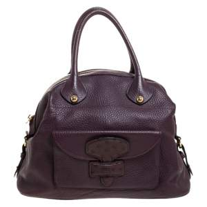 Loewe Purple Leather and Ostrich Front Pocket Satchel