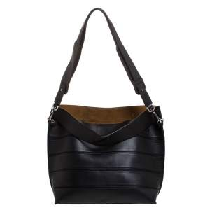 Loewe Black Leather Front Slit Hobo