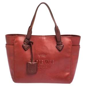 Loewe Red Leather Heritage Shopper Tote