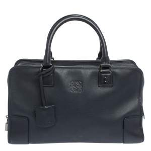 Loewe Dark Navy Leather Amazona Satchel