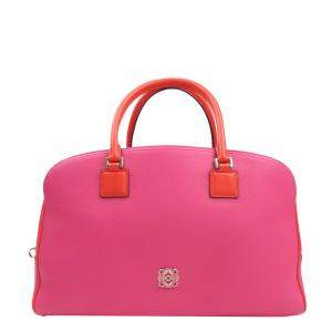 Loewe Pink/Red Leather Boston Bag