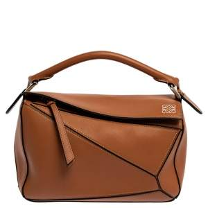 Loewe Brown Leather Small Puzzle Shoulder Bag