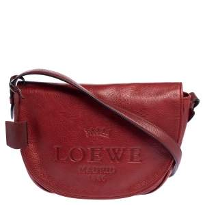 Loewe Red Leather Logo Embossed Flap Crossbody Bag