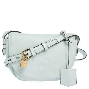 Loewe White Leather Mini Logo Crossbody Bag