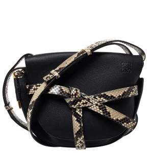 Loewe Black Leather and Python Gate Crossbody Bag