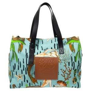 Loewe x Paula's Multicolor Ibiza Mermaid Canvas and Leather Tote