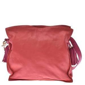 Loewe Red/Pink Leather Flamenco 28 Shoulder Bag