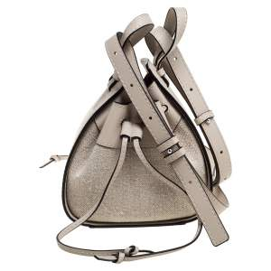Loewe Ivory Canvas and Leather Mini Hammock Drawstring Bag