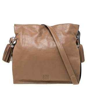 Loewe Brown Leather Flamenco Shoulder Bag