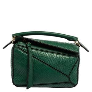 Loewe Green Python Small Puzzle Satchel