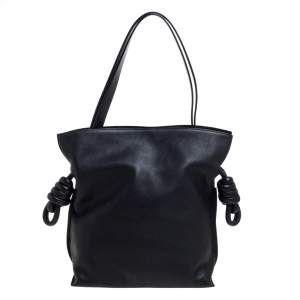 Loewe Black Leather Flamenco Knot Hobo