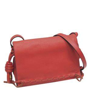 Loewe Red Leather Flamenco Knot Crossbody Bag