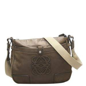 Loewe Brown Leather Anagram Crossbody Bag