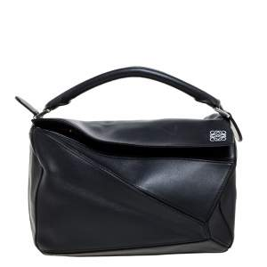 Loewe Black Leather Medium Puzzle Top Handle Bag