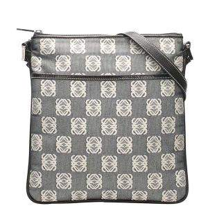 Loewe Grey/Black Leather trimmed Anagram Canvas Crossbody Bag