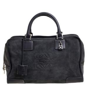 Loewe Grey Suede and Leather Amazona Medium Boston Bag