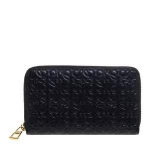 Loewe Black Monogram Embossed Leather Zip Around Wallet