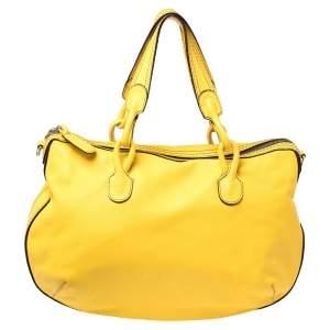 Loewe Yellow Leather Logo Embossed Shoulder Bag