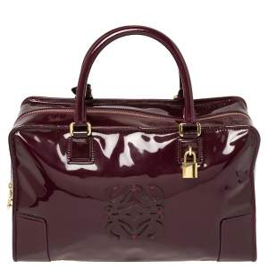 Loewe Burgundy Patent Leather Amazona Satchel