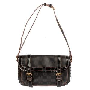 Loewe Dark Brown/Pink Anagram PVC and Patent Leather Flap Shoulder Bag